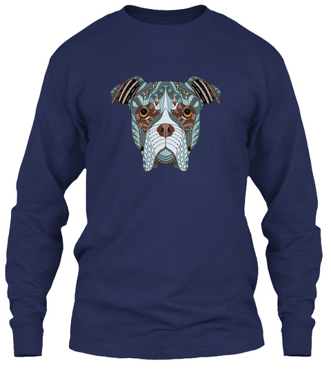 Boxer Art Head Awesome Navy T-Shirt Front