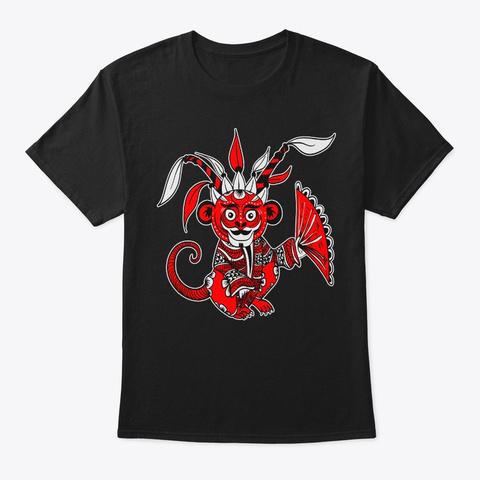 Monkey Lunar New Year Chinese Zodiac Black T-Shirt Front