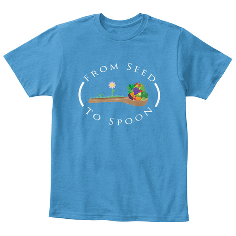 From Seed To Spoon Heathered Bright Turquoise  T-Shirt Front