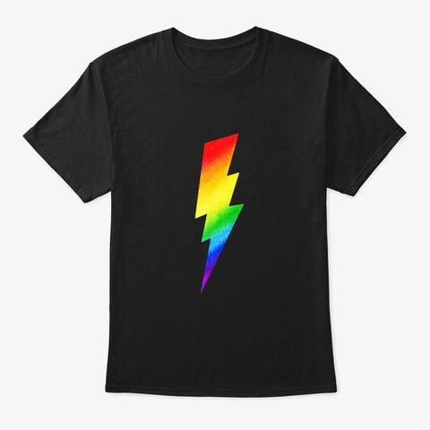 Lightning Bolt Gay Pride Rainbow T Shirt Black T-Shirt Front