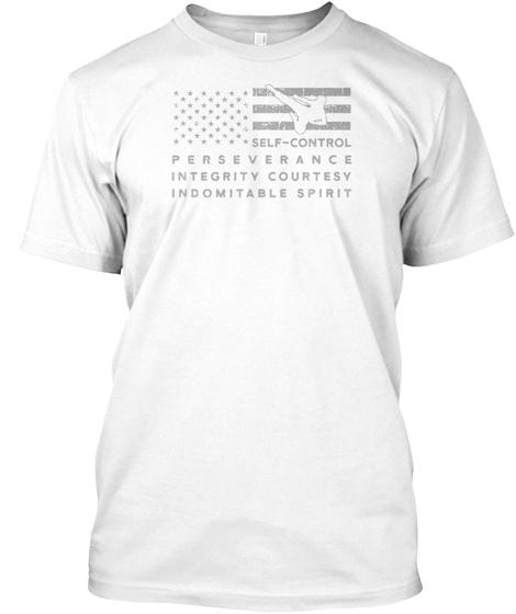 Proud U.S. Flag Martial Art Taekwondo Sh White T-Shirt Front