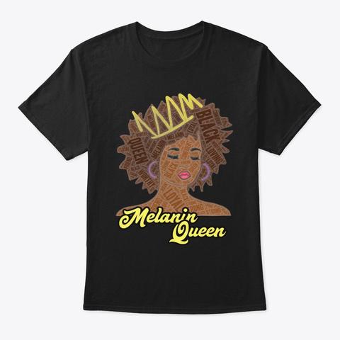 Melanin Queen Words In Afro Art Black T-Shirt Front