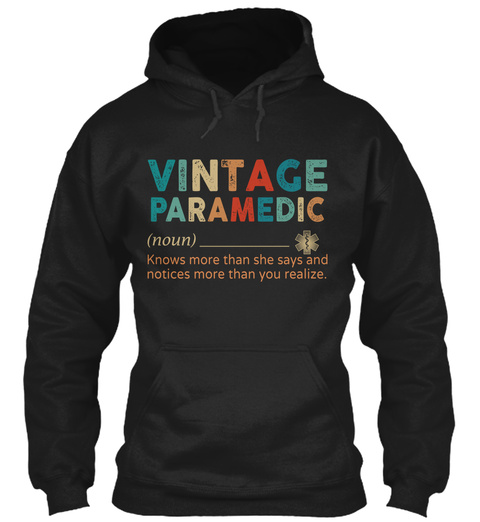 Vintage Paramedic Black T-Shirt Front