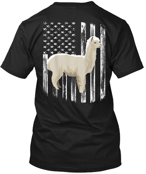 American Flag Alpaca 4th Of July Shirt Black T-Shirt Back