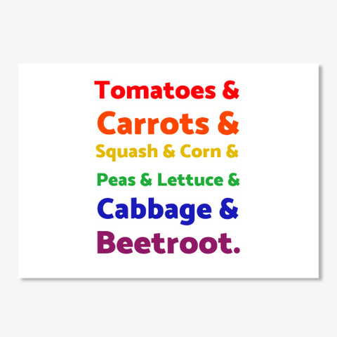 Rainbow List Of Vegetables White T-Shirt Front