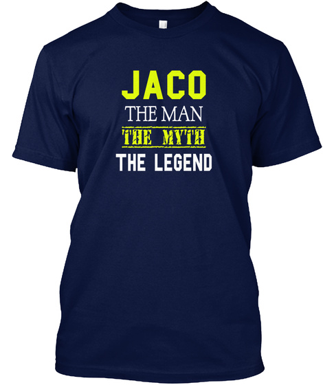 Jaco The Man The Myth The Legend Navy T-Shirt Front