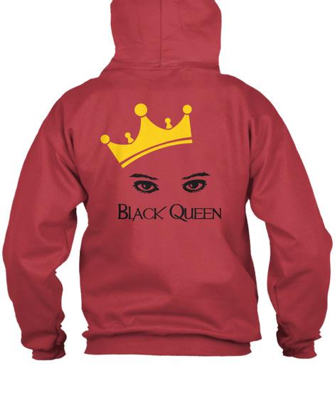 Black Queen Zip Front Hoodie Deep Red T-Shirt Back