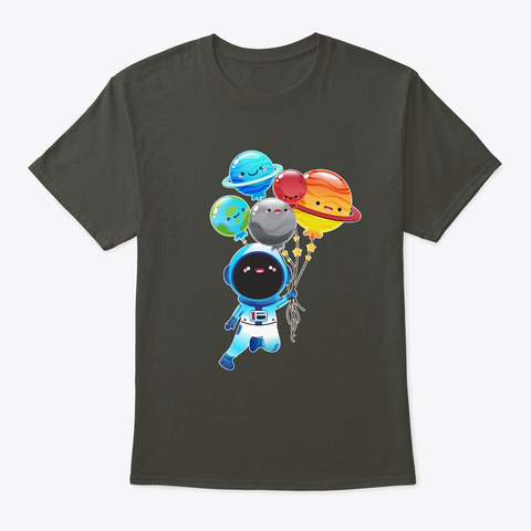 Astronaut With Planet Balloons Outta Smoke Gray T-Shirt Front
