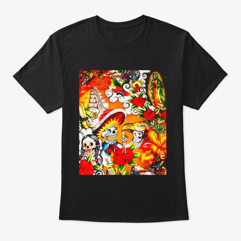 Dia De Los Muertos Llama Alpaca Shirt Black T-Shirt Front