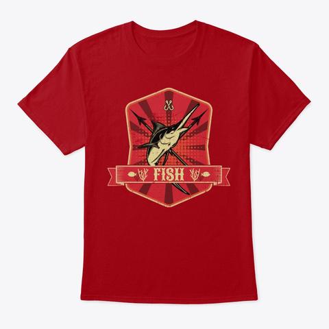 Fish Propaganda | Fishing Angler Lake Deep Red T-Shirt Front