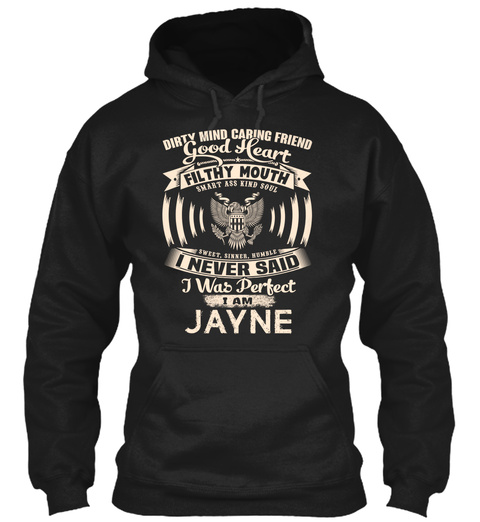 Jayne Name Perfect Black T-Shirt Front