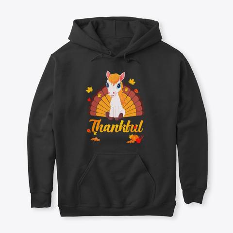 Horse Thankful Turkey Thanksgiving Black T-Shirt Front