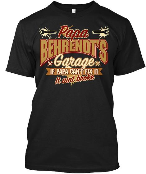 Papa Behrendt's Garage Black T-Shirt Front