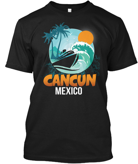 Cancun Mexico Beach Palm Tree Black T-Shirt Front