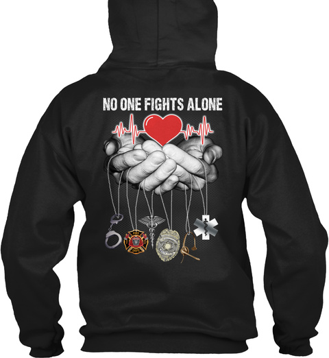 No One Fights Alone Black T-Shirt Back