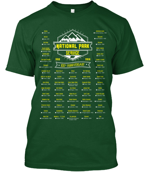 National Park Service 1916 2016 100th Anniversary Deep Forest T-Shirt Front