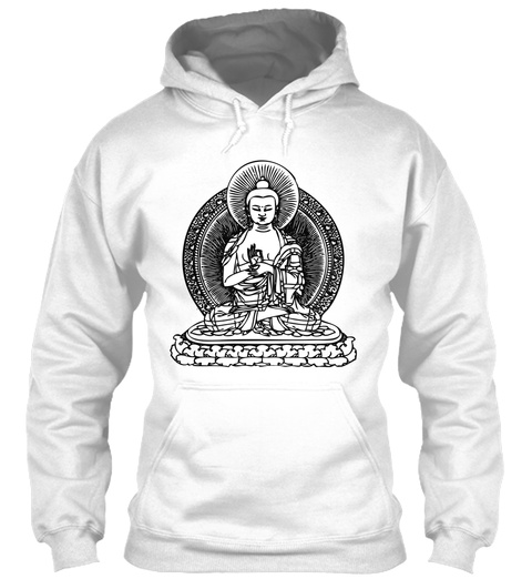 Buddha Hoodie White T-Shirt Front