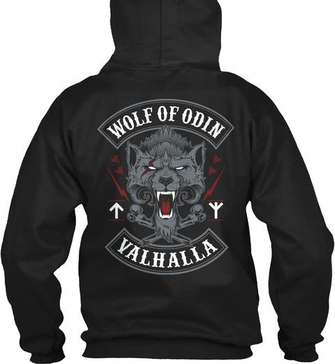 Wolf Of Odin Valhalla Black T-Shirt Back