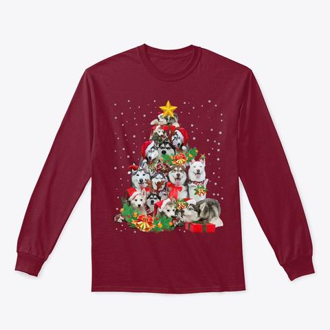 Siberian Husky Christmas Gift Dog Shirt Cardinal Red T-Shirt Front
