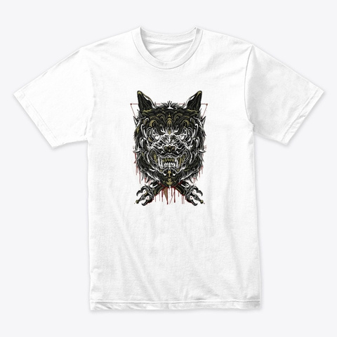 Skull Beast Design   Awesome Art White T-Shirt Front