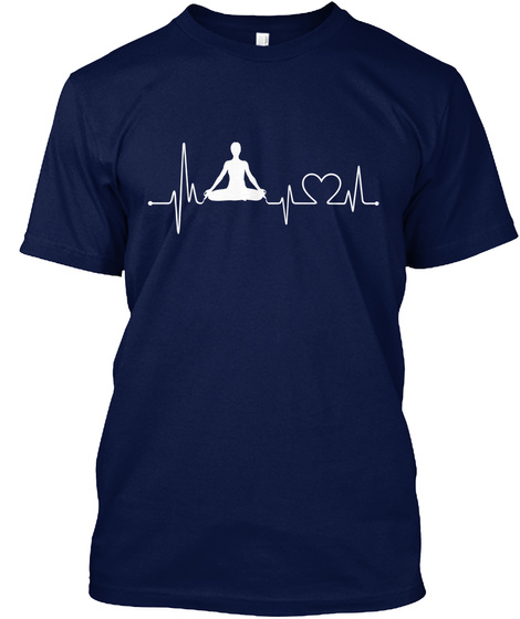 Meditate Heartbeat Navy T-Shirt Front