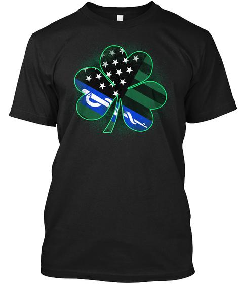 Ems St. Patrick's Day Clover Black T-Shirt Front