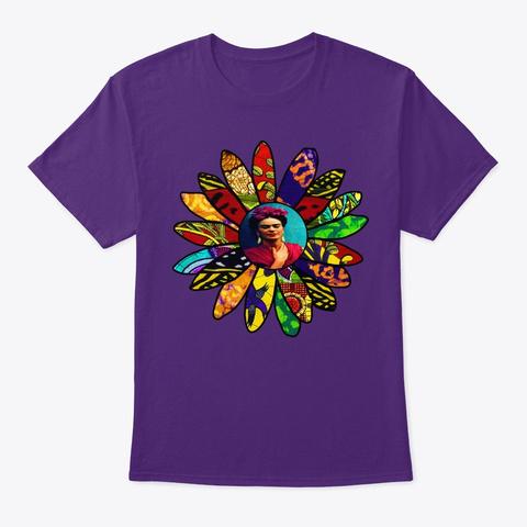 Kahlo Retro Flower Purple T-Shirt Front
