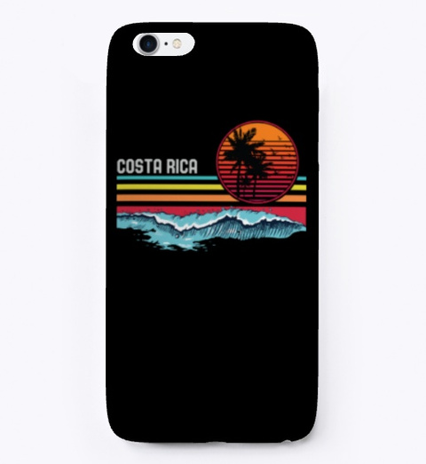 Vintage Costa Rica Beach Sunset Surfing Black T-Shirt Front