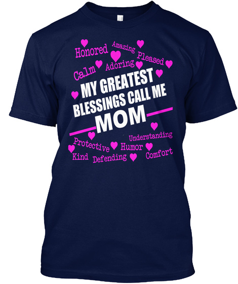 Awesome Mom's T Shirt Navy T-Shirt Front