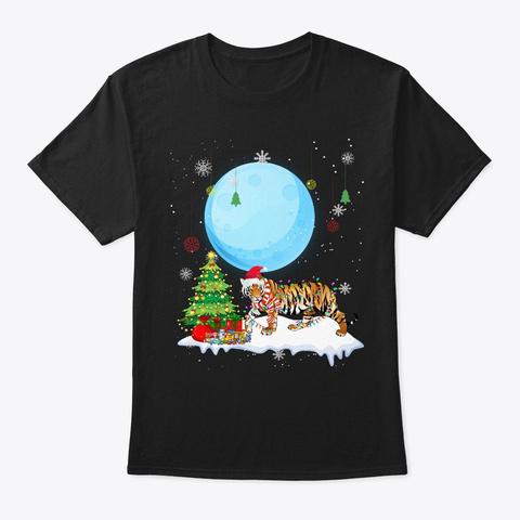 Tiger Christmas Black T-Shirt Front