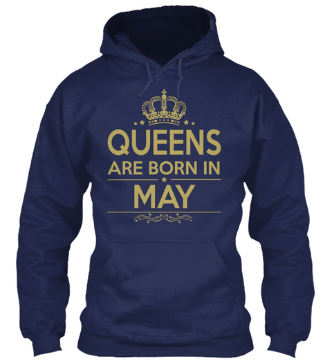 Queens Are Born In May Navy T-Shirt Front
