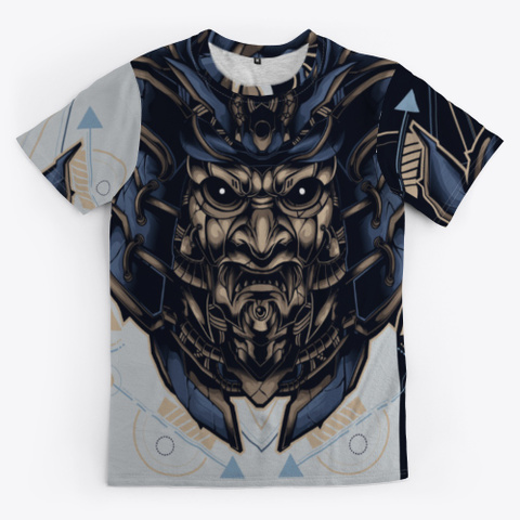 Samurai Japanese Oni Warrior Mask Light Grey T-Shirt Front