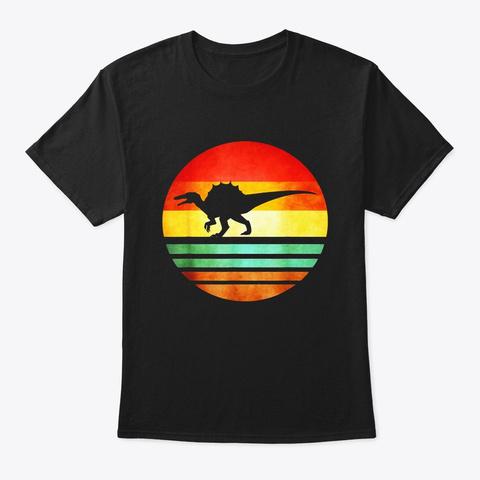 Spinosaurus Dinosaur Shirt Retro Vintage Black T-Shirt Front