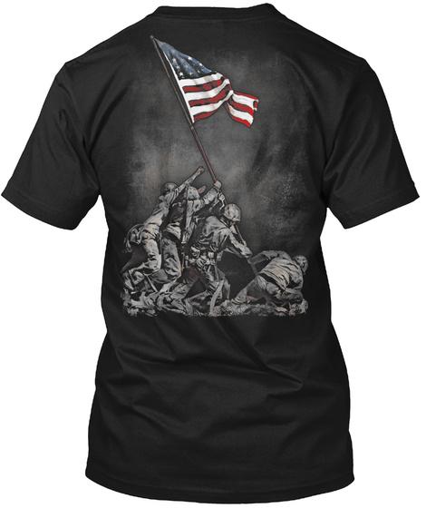 Soldiers Raising American Flag Iwo Jima Black T-Shirt Back