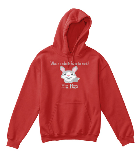 What Is A Rabbits Favourite Music? Hip Hop Alexander & Kent Red T-Shirt Front