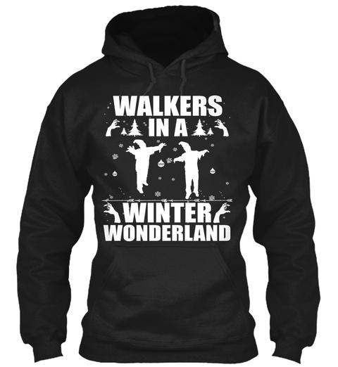 Walkers In A Winter Wonderland Black T-Shirt Front
