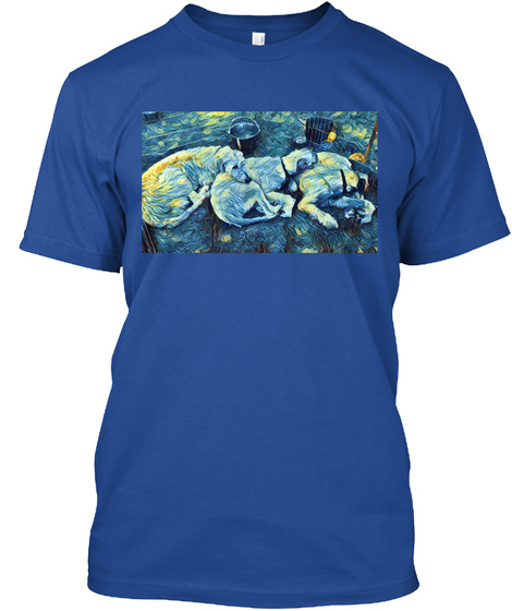 Digi Dogs   Starry Night Wolfhounds  Deep Royal T-Shirt Front