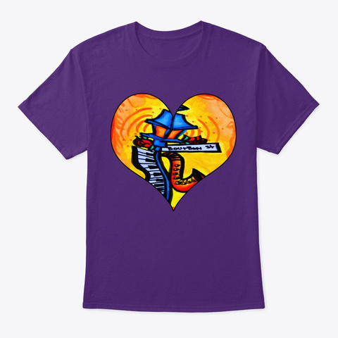 Bourbon St. Music Post Purple T-Shirt Front