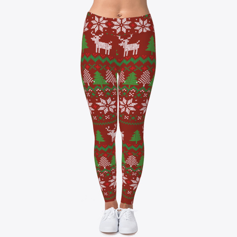 Christmas Trees And Reindeer Dark Red T-Shirt Front
