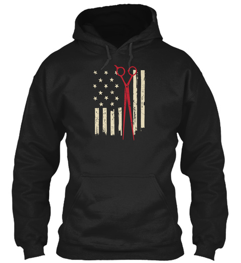 American Hair Stylist Flag And Scissors Black Sweatshirt Front