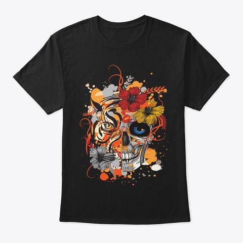 Halloween Tiger Lover Gift Floral Skull Black T-Shirt Front