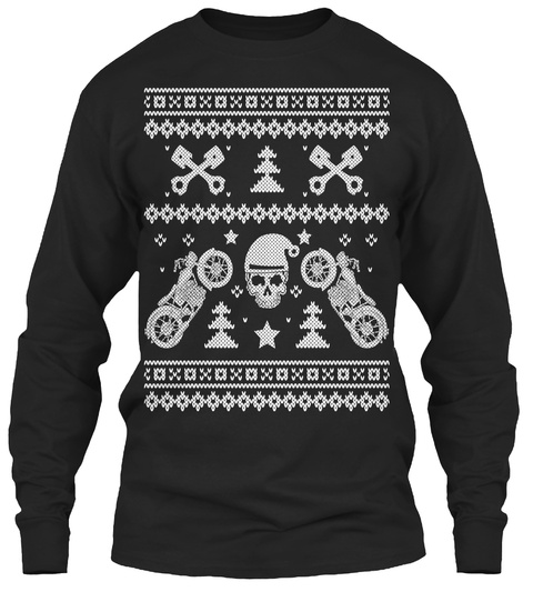 Biker Christmas   Limited Edition  Black Long Sleeve T-Shirt Front
