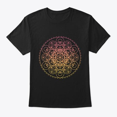 Sacred Geometry Intricate Tri Hex Circles Black T-Shirt Front