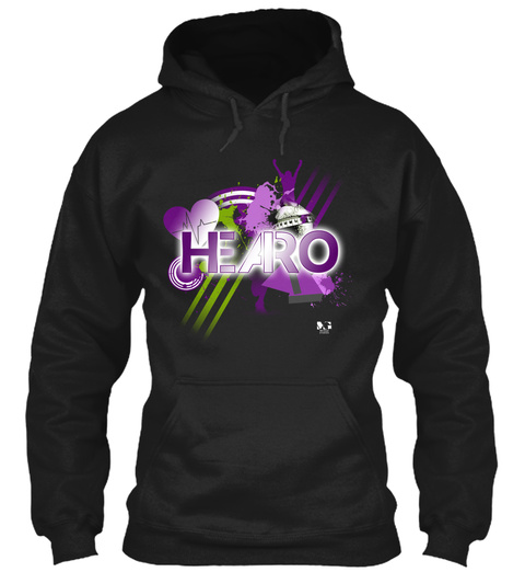 H.E.A.R.O. Hoodie Black T-Shirt Front