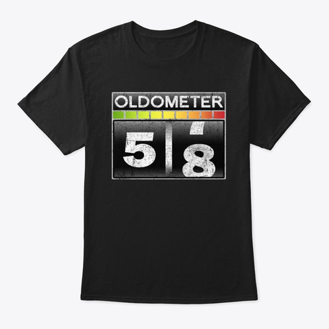 Oldometer 58 Awesome 58th Birthday Gift Black T-Shirt Front