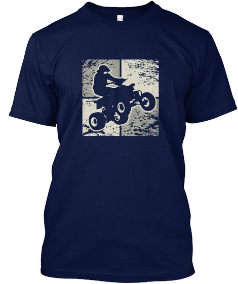 Atv Quad Abstract Squares Navy T-Shirt Front
