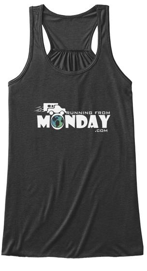 Running From Monday .Com Dark Grey Heather T-Shirt Front