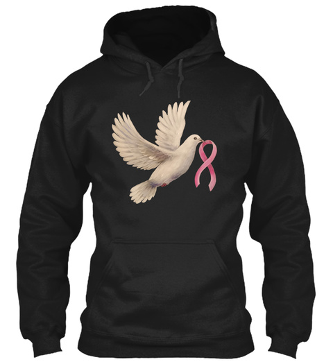Hope Dove With Pink Ribbon Black T-Shirt Front