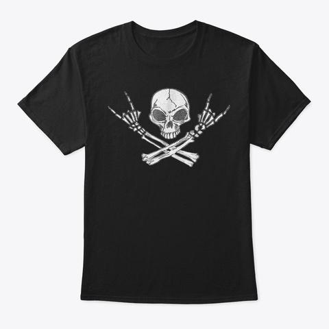 Rock N Roll Shirt Halloween Skeleton Roc Black T-Shirt Front