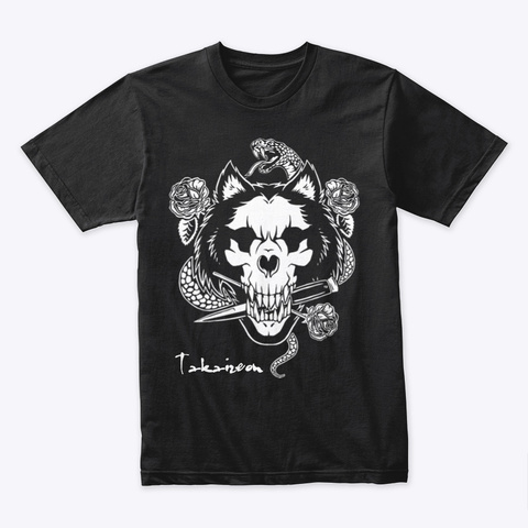 Snake And Wolf Black T-Shirt Front